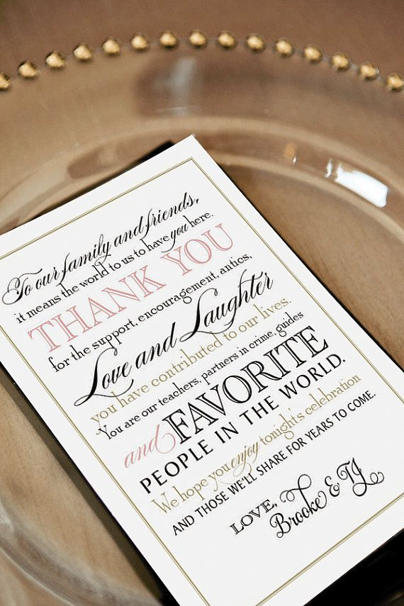 Printable Wedding Thank You Note For Guests Calligraphy Welcome Bag Tag