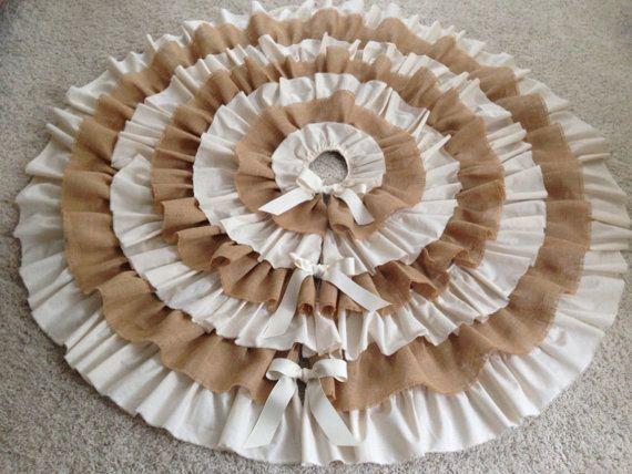 XL Ruffled Tree Skirt, Burlap and Cream Muslin, 74\