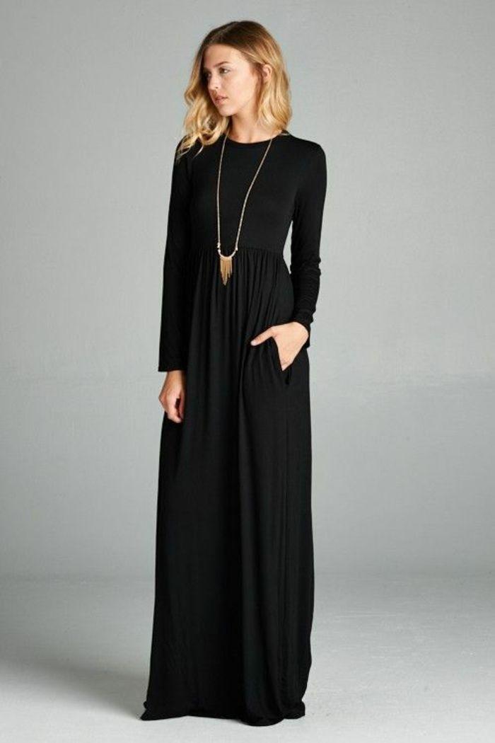 3d1b9e1e225 Robe noire longue manches longues