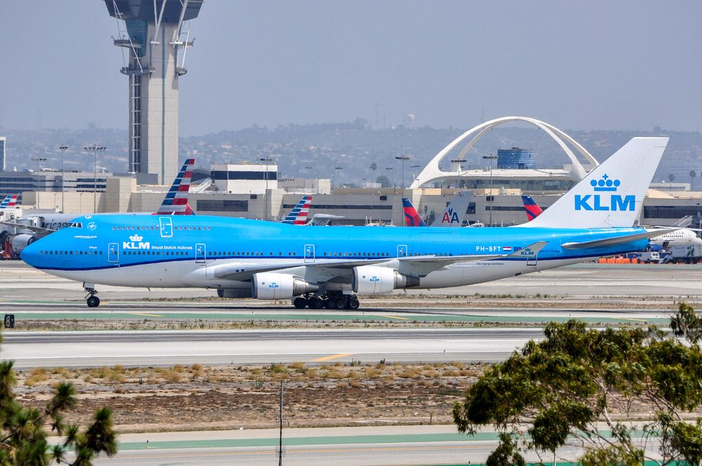 KLM 747406/M arriving at LAX on August 22, 2015. Klm