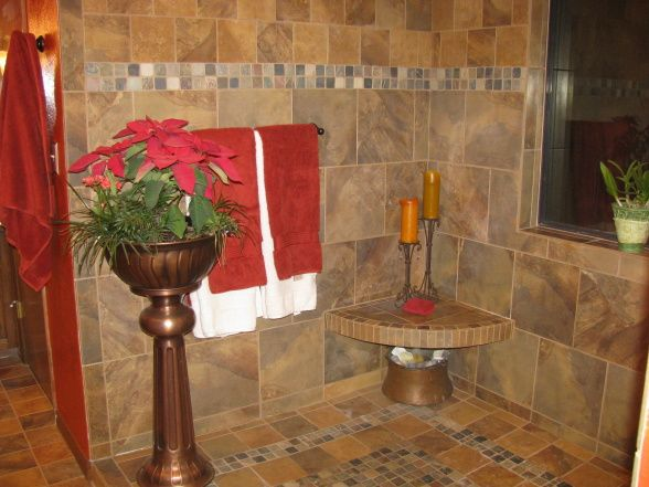 Tuscan Bathrooms Featured in Magazine   Tuscan Tile Oasis, An open ...