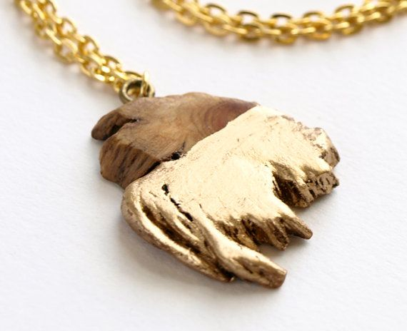 One of a kind, rare gold dipped Juniper. Each slice of this rare in shape, aromatic wood is different and each of those pendant necklaces is a treasure - sculpted by nature herself. {wood jewelry}