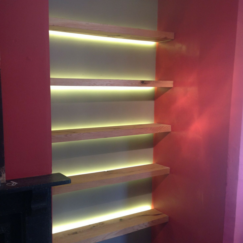 Lighting Basement Washroom Stairs: LED Tape - Warm White LED