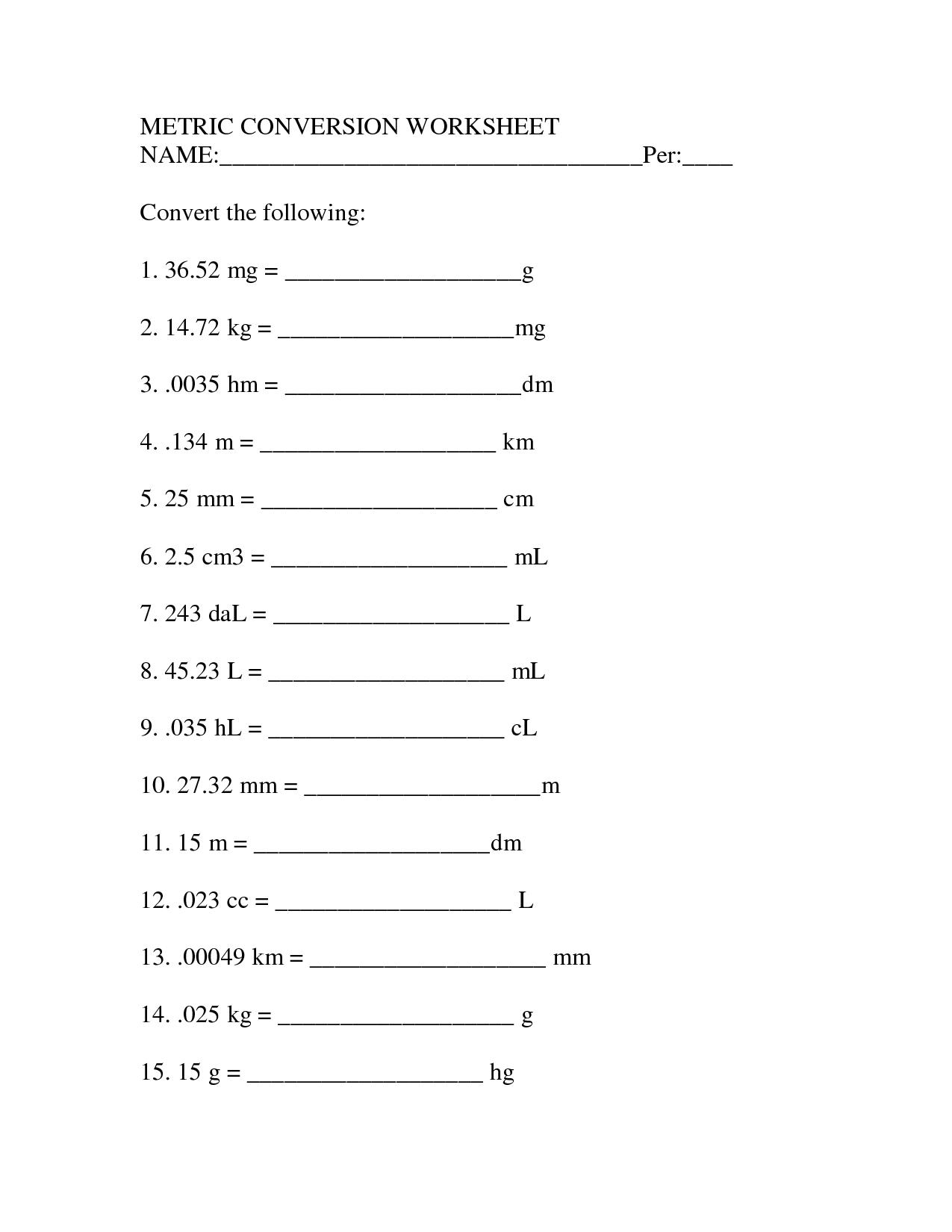 Unit Conversion Factor Worksheet - Livinghealthybulletin
