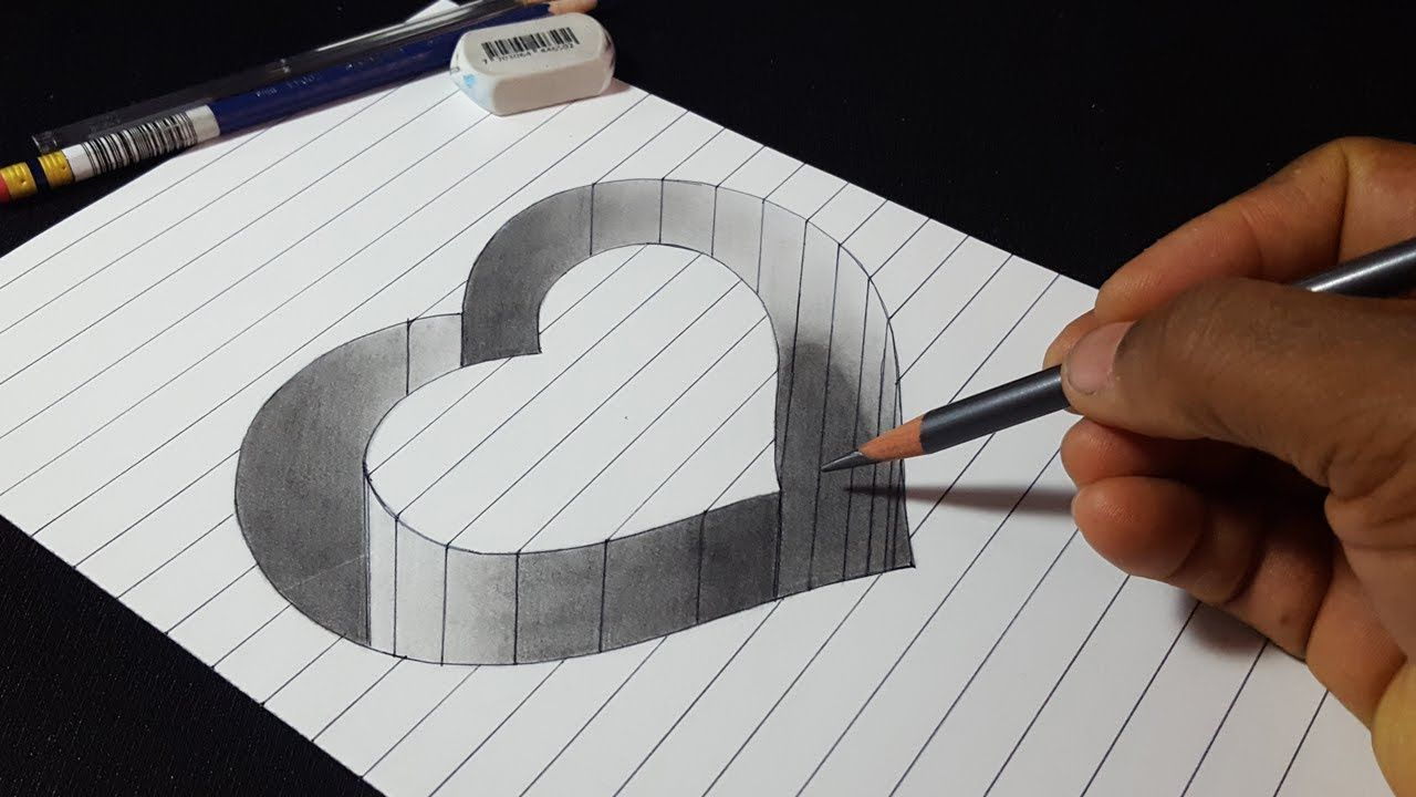 How to draw 3d hole heart shape easy trick drawing youtube