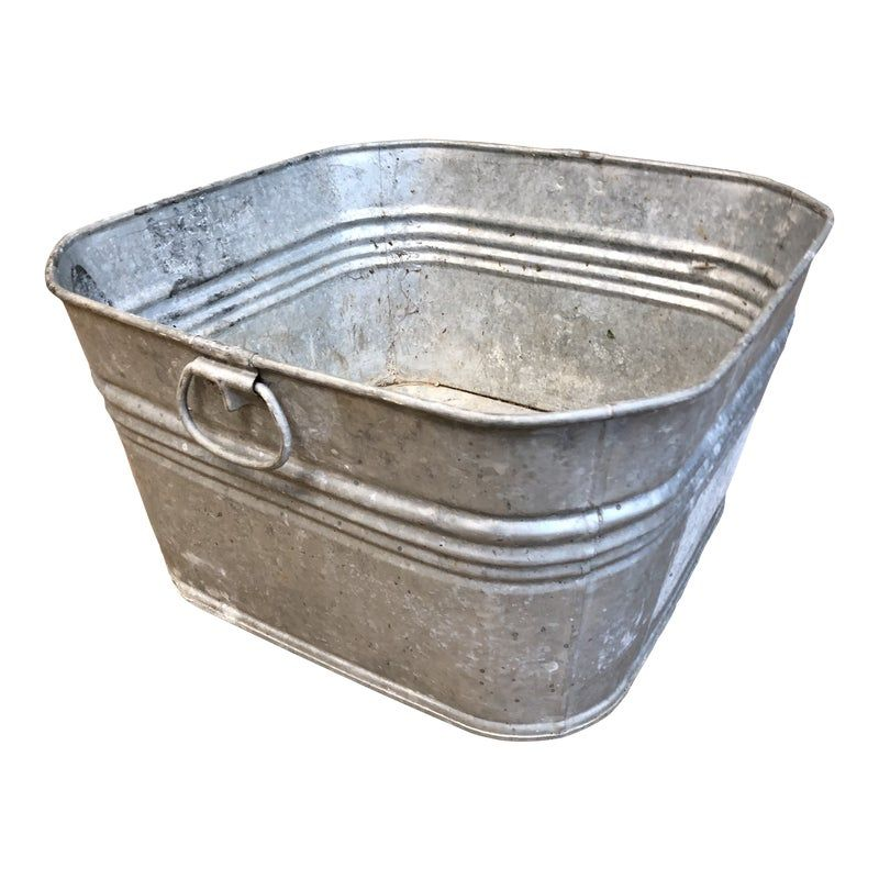 Vintage Galvanized Metal Square Wash Tub Metal Wash Tub Galvanized Metal Wash Tubs