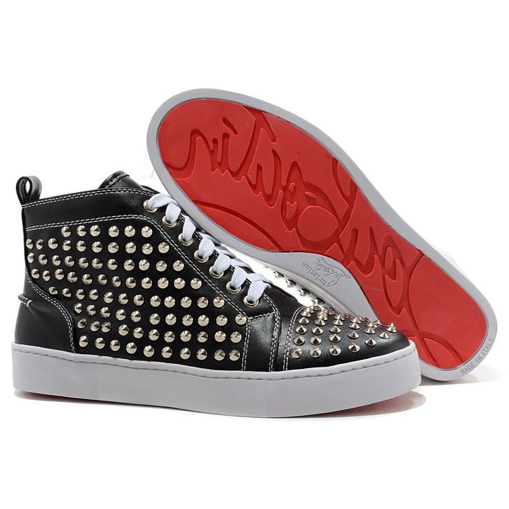 Discount Christian Louboutin Louis Silver Flat Spikes High Top Womens Sneakers Black White it s awesome save more than off