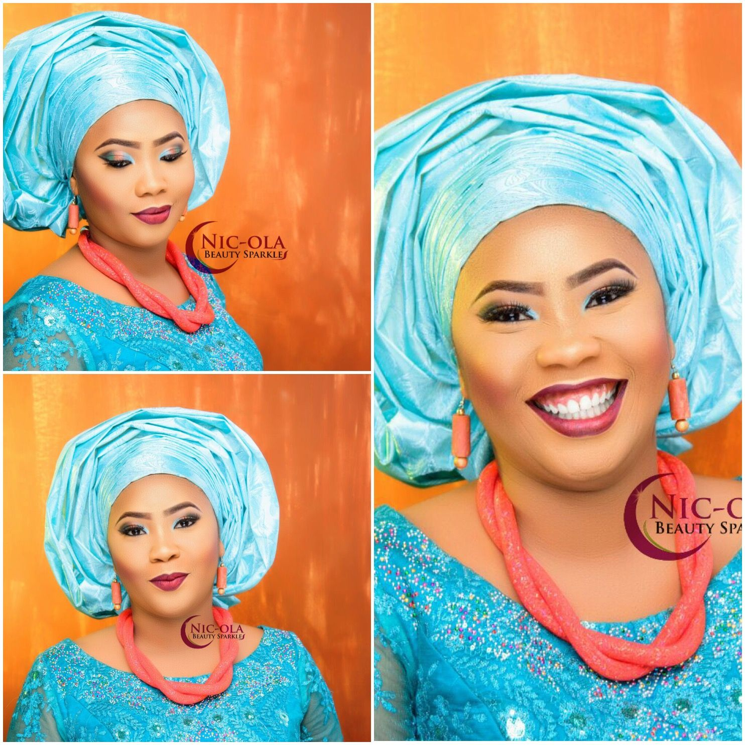 Nigerian Traditional Bride: Blue Makeup: Nic-Ola Beauty Sparkles ...