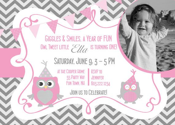 Owl birthday invitation first birthday owl party invitation 1st owl birthday invitation first birthday owl party invitation 1st birthday owl invitations printable girl owl chevron photo card any age filmwisefo Image collections
