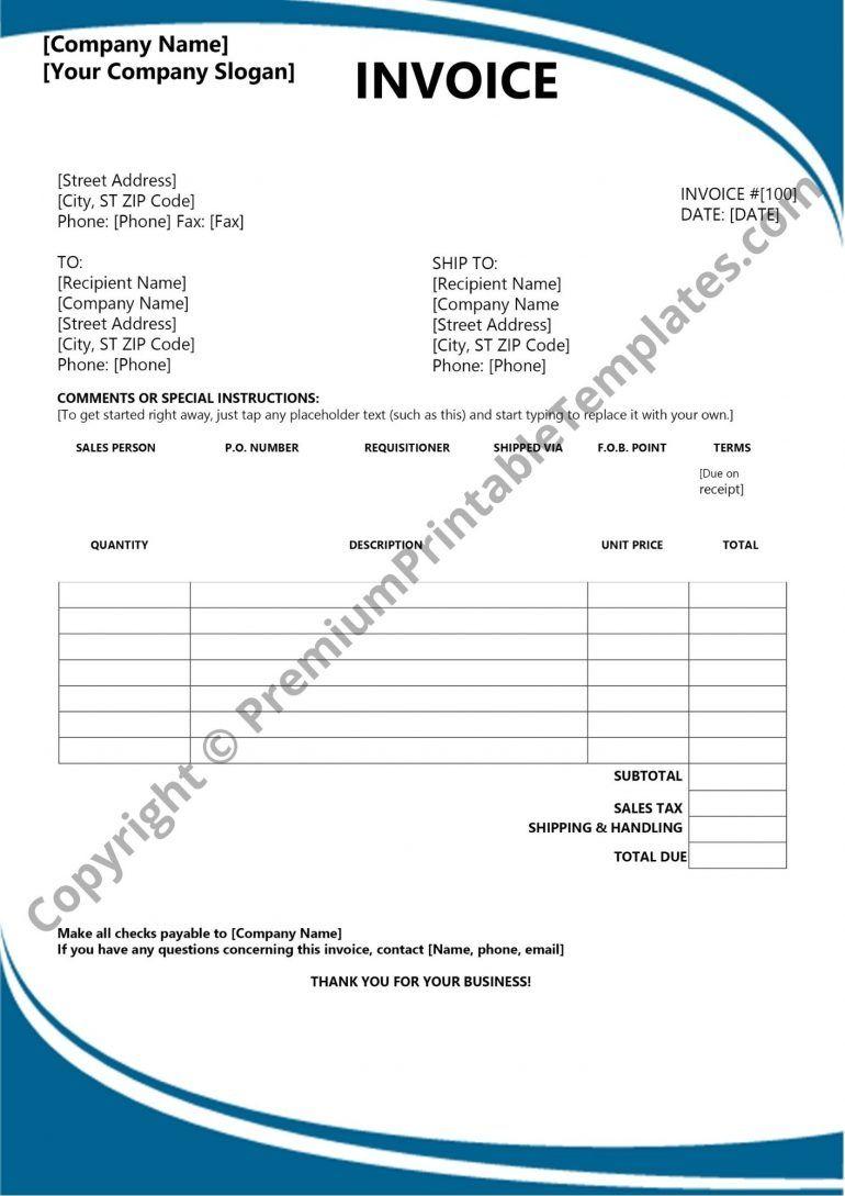 Basic Invoice Template Pack Of 5 Premium Printable Templates Invoice Template Invoice Template Word Templates