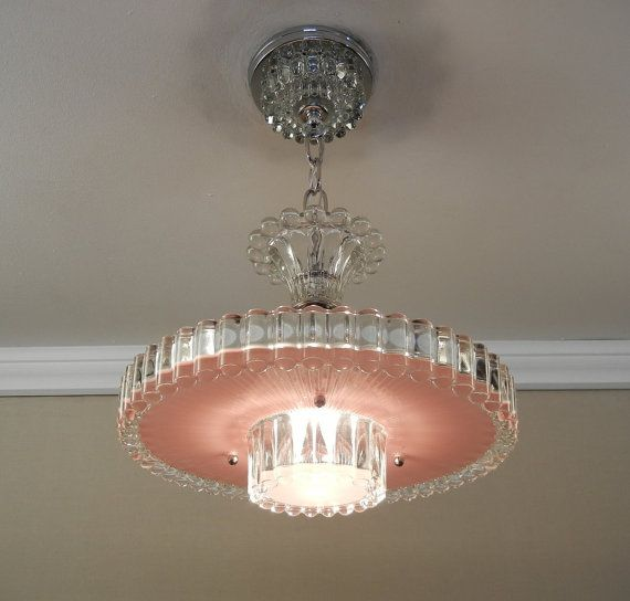 Vintage lighting art deco chandelier 1940s dusty rose color pressed glass ceiling light lamp fixture rewired