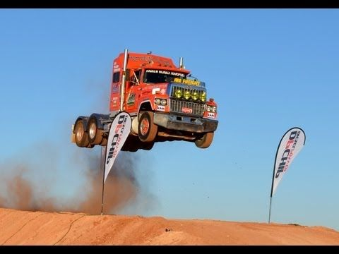 ▶ Semi Truck Jump, Prime mover Video 2 Australia extreme live Loveday 4x4 Park rum jungle trucking - YouTube