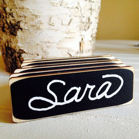 50 Rectangle Chalkboard Name Tags, Magnetic or Pin Name