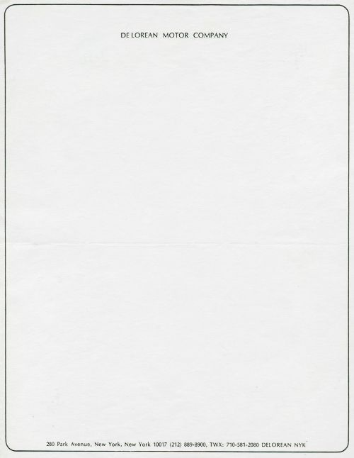 Official letterhead of DeLorean Motor Company, a car manufacturer - Official Letterhead