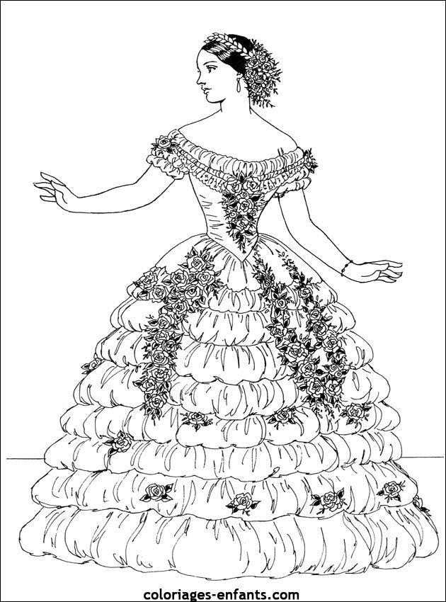 vintage dress coloring pages | Vintage Fashion Coloring Page. Coloring for adults ...