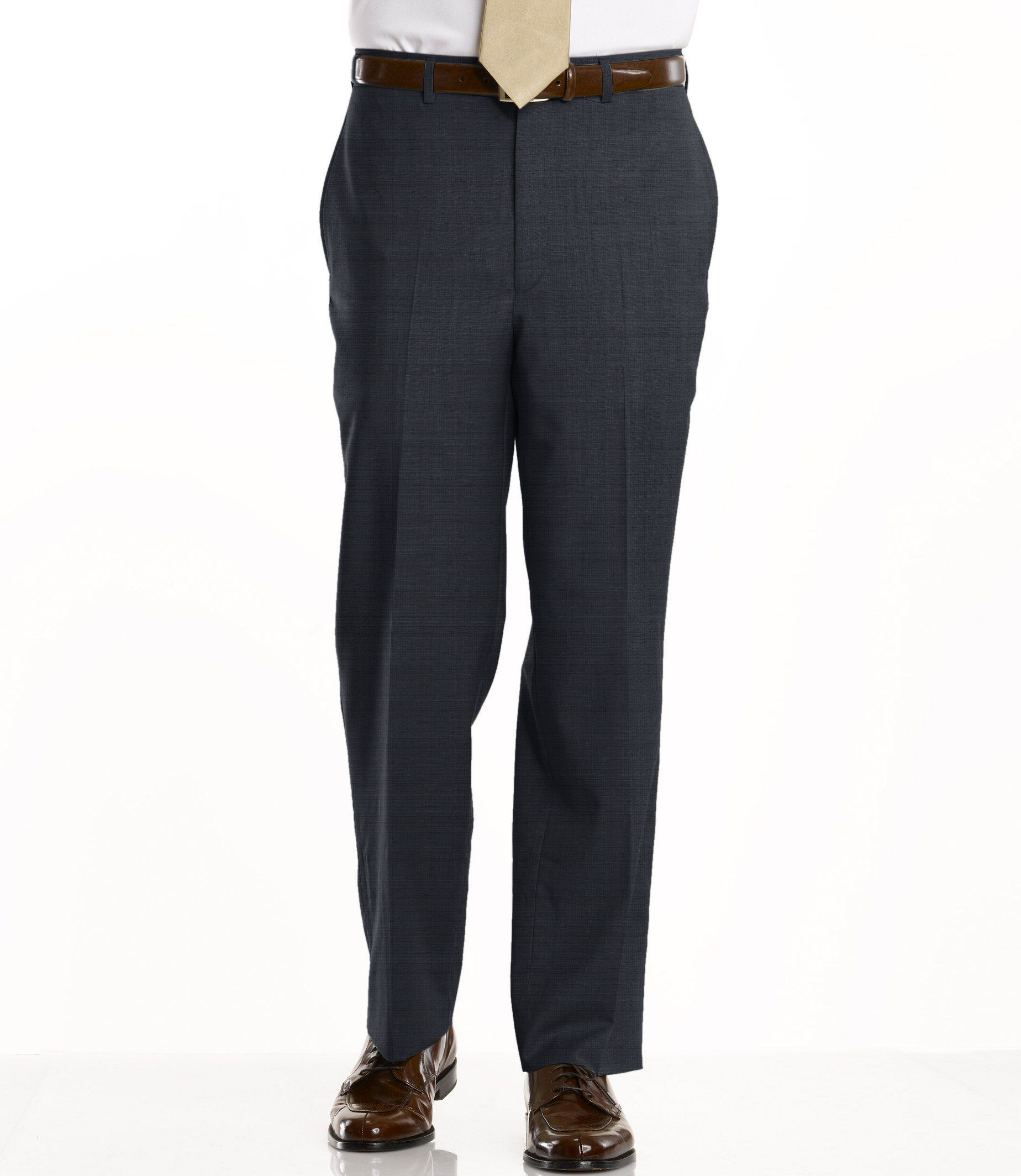 Signature Tropical Weave Tailored Fit Plain Front Trouser Color Dark Taupe With Images