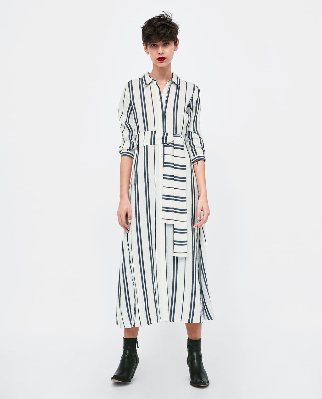 36fde9e9 Image 1 of LONG STRIPED TUNIC from Zara | Zara | Tunic, Shirt dress ...