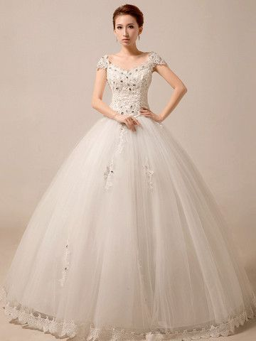 Cap Sleeves Princess Ball Gown Wedding Dress Debutante Dress ...