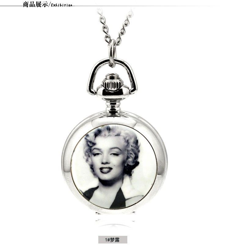 Elvis Presley For Women Ladies Gril Pocket Watch Necklace ladies girl fob watches silver long chain Fashion Wholesale rock roll
