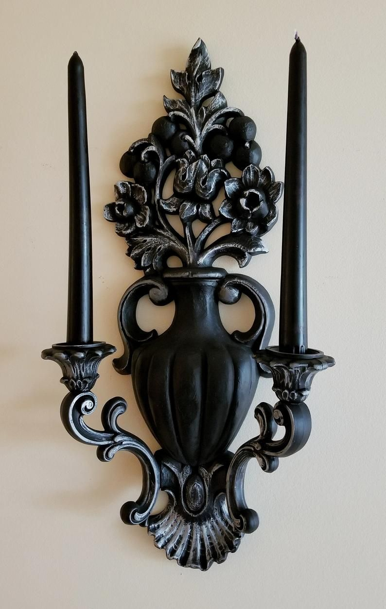 Photo of Victorian Goth Decor, Vintage Wall Sconce, Black Candle Holders, Gothic Home Decor, Halloween Decor