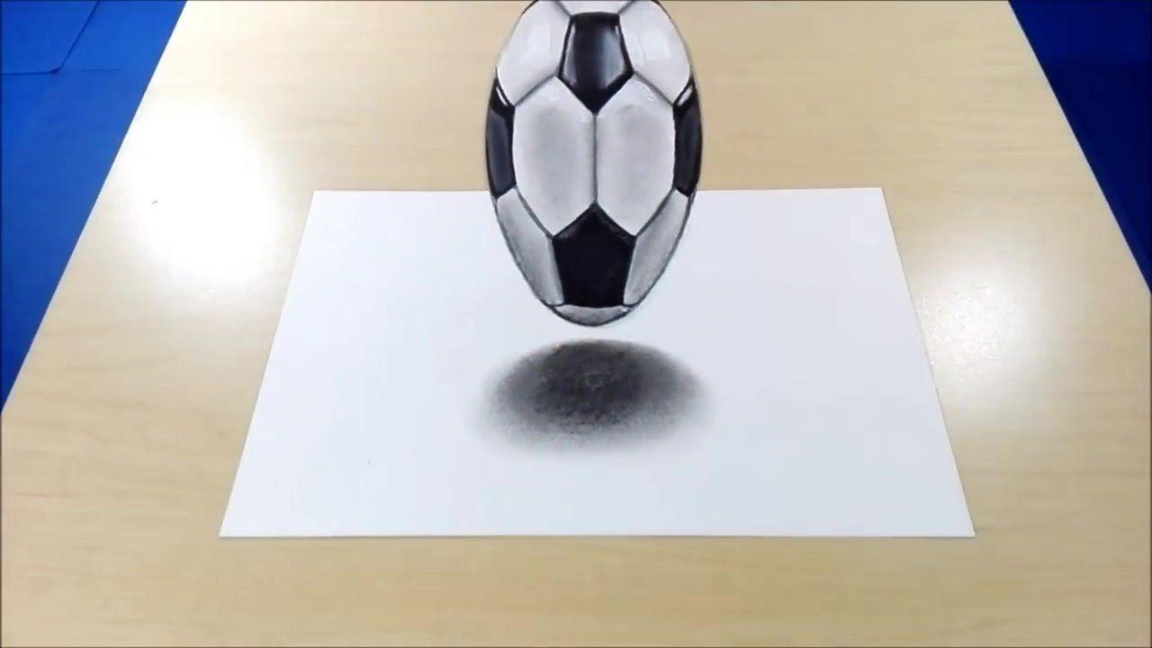 3d Drawing On Paper Soccer Ball Soccer Ball Soccer Youtube