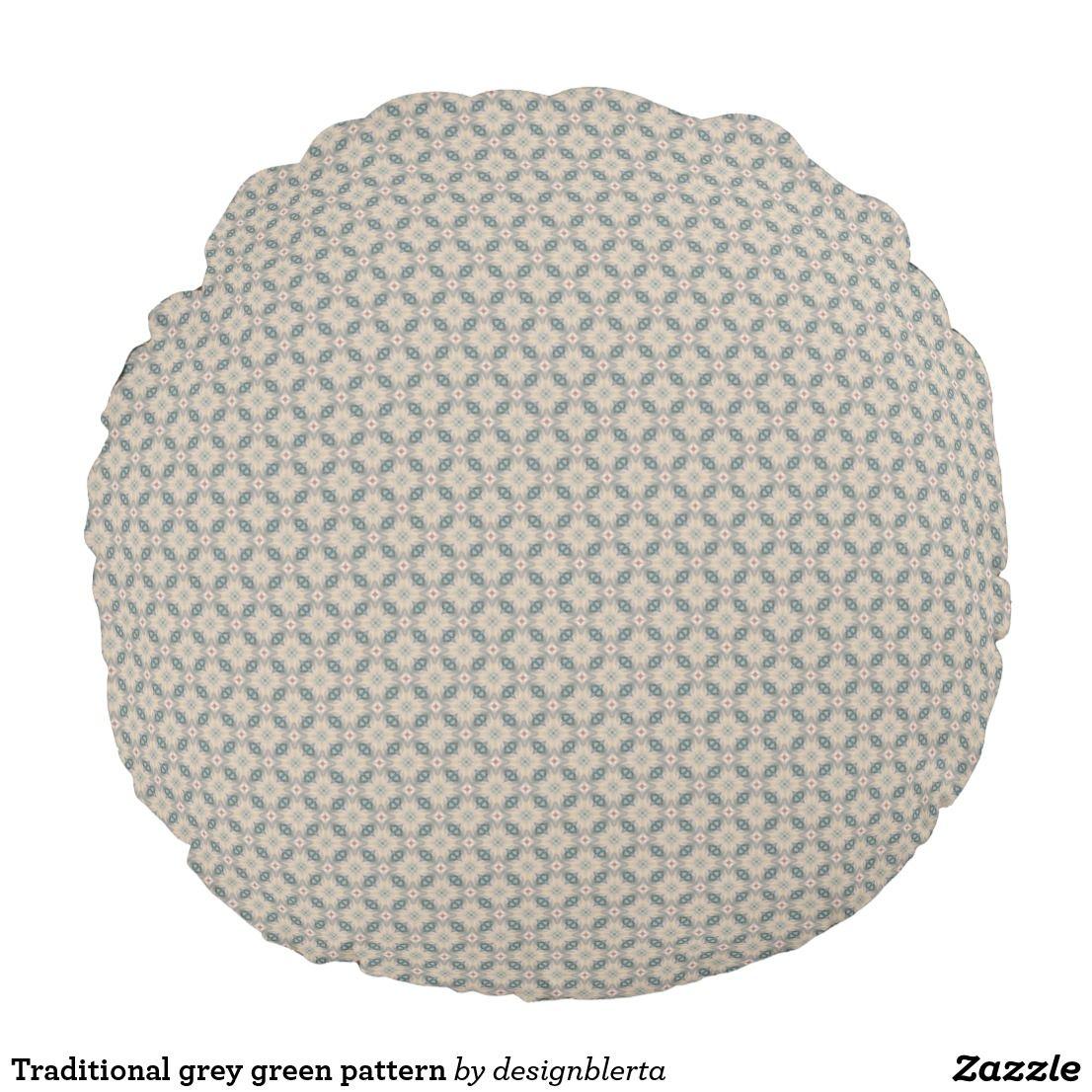 Traditional grey green pattern round cushion cushions ii