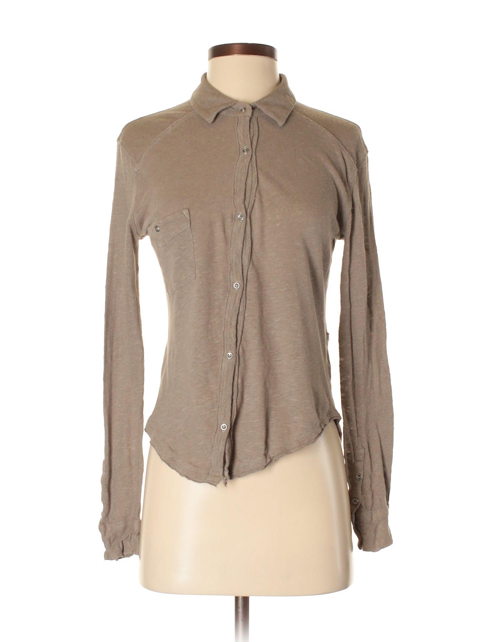 c4ef1084 We the Free Long Sleeve Button Down Shirt: Size 4.00 Tan Women's Tops -  $15.99