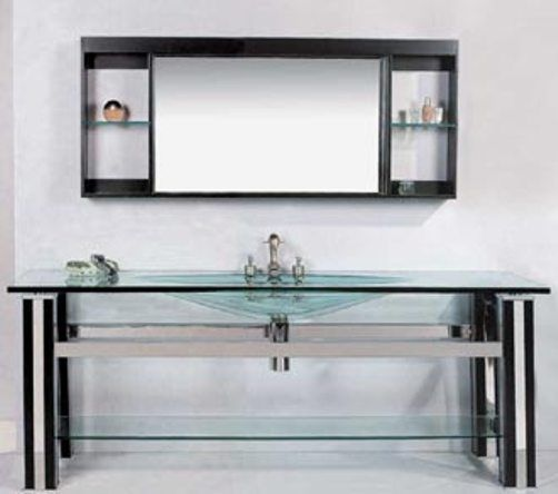 Digital Art Gallery Wasauna WAS Modern Bathroom Vanity Tempered Glass Basin Oak Wood and Stainless