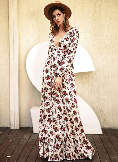 Dresses - $56.99 - Modal Floral Long Sleeve Maxi Casual Dresses ...