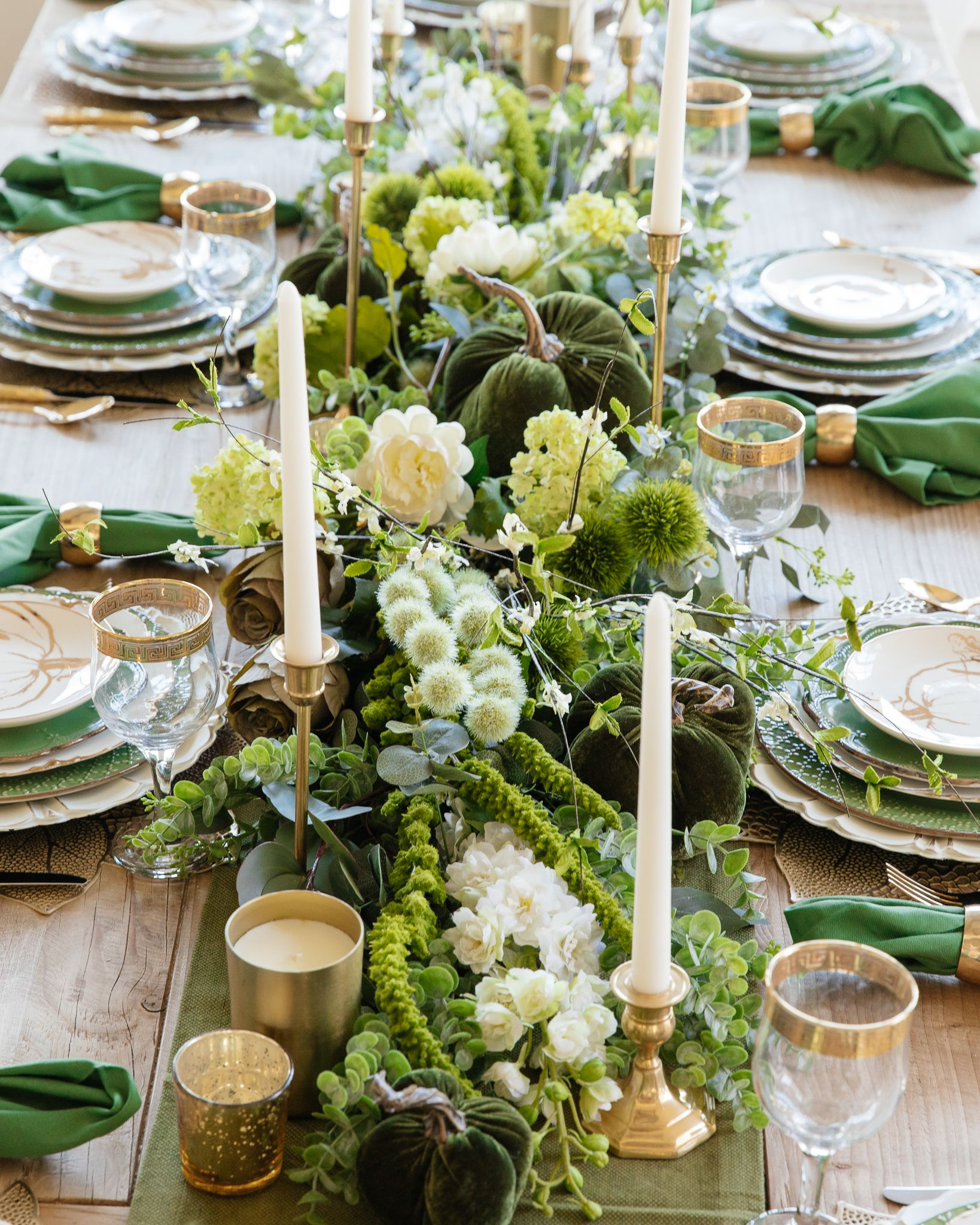 Green And Gold Fall Harvest Tablescape Spring Table Decor Dinner Table Setting Spring Table Settings