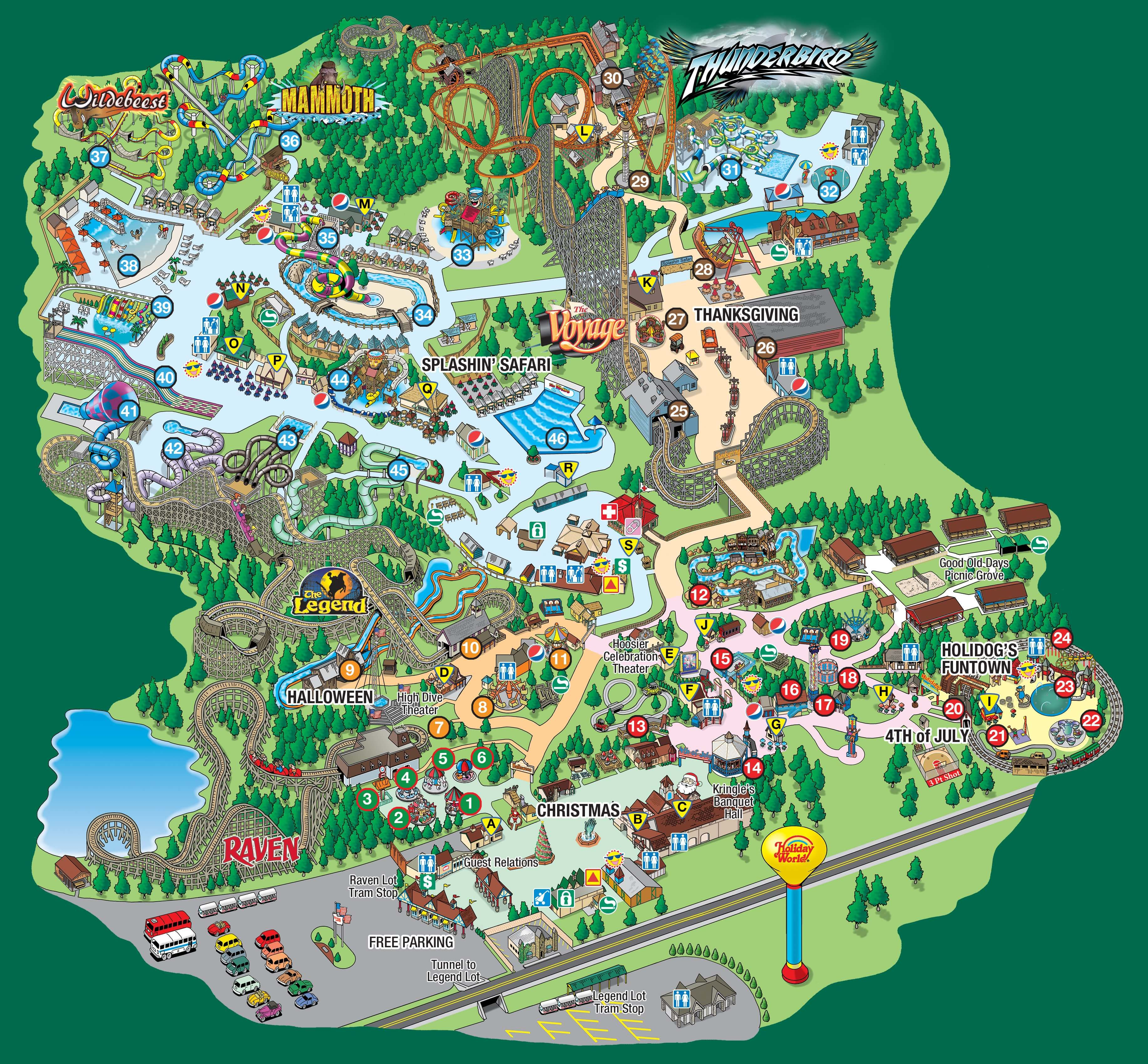 Holiday World Map Splashin' Safari Park Map in 2019 | Kid Places/Hours | Holiday