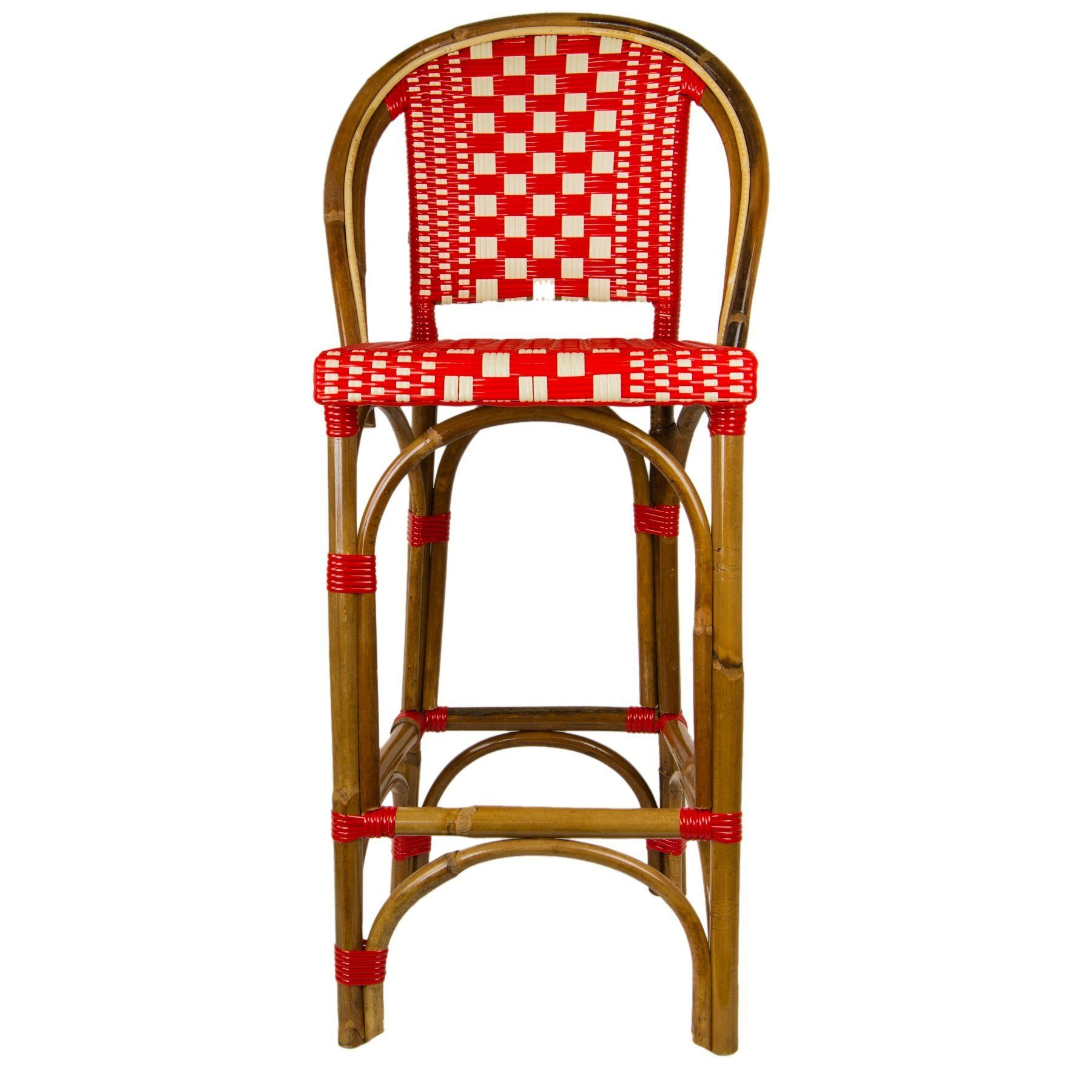 Red And Cream Mediterranean Bistro Bar Stool With Back (26