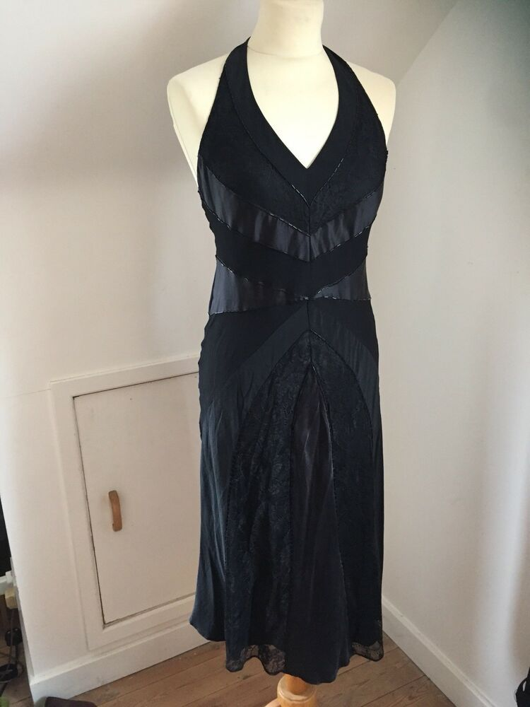 046f20325b86 Oasis Silk Halterneck Dress Flapper Style Black Size 10 Beaded Backless # fashion #clothing #shoes #accessories #womensclothing #dresses (ebay link)