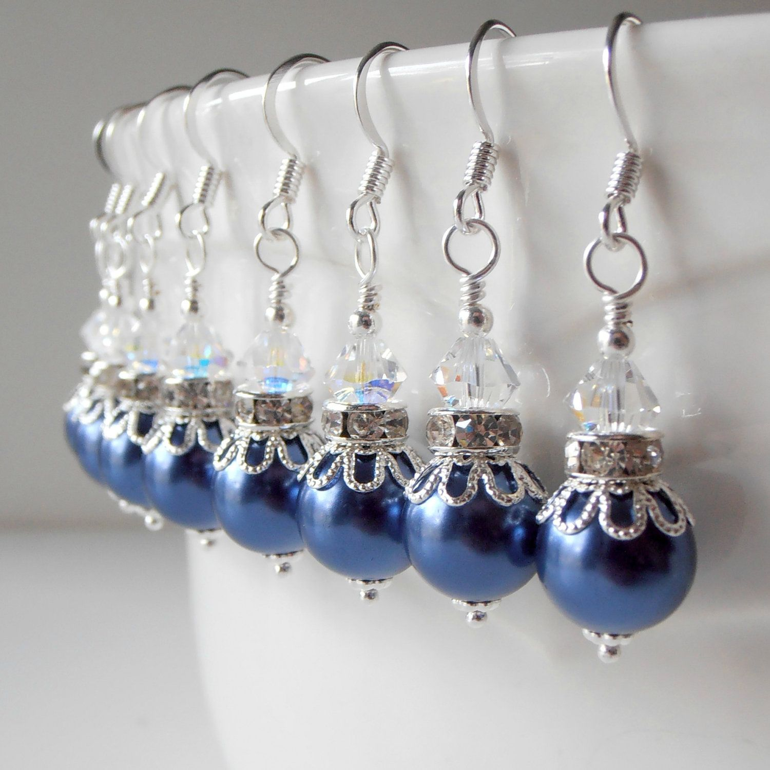 Navy Blue Bridesmaid Jewelry Wedding Jewelry by FiveLittleGems, $14.00