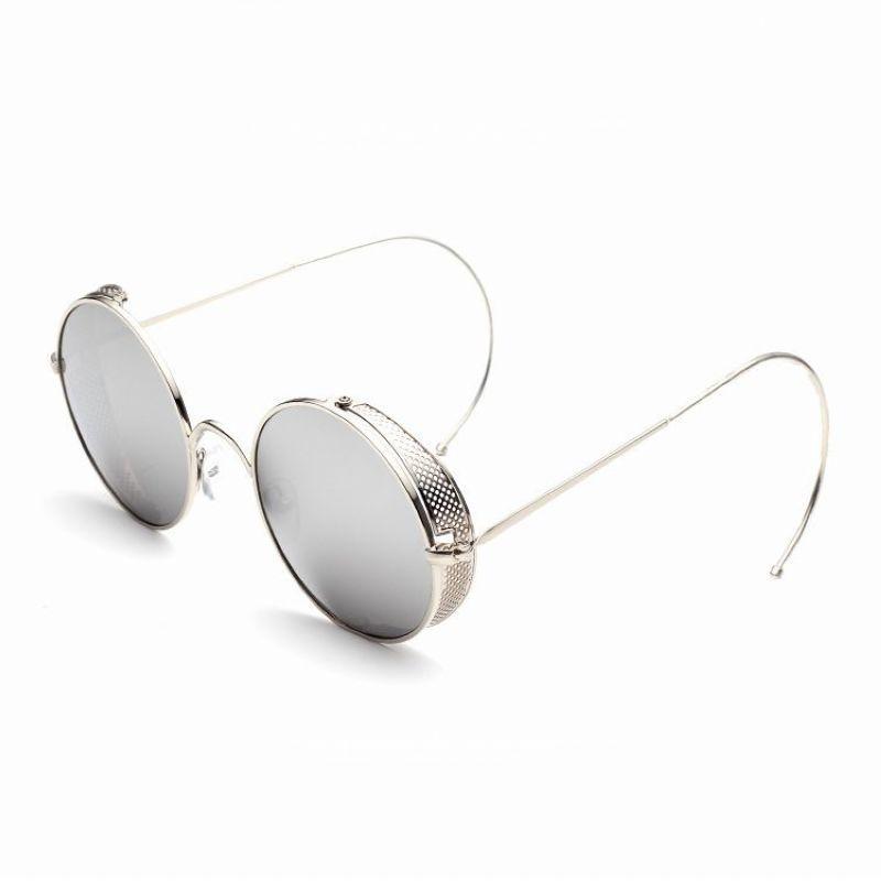 5bc8d5d3ed1 Steampunk Mesh Side Shields Round Sunglasses Silver Mirror White ...