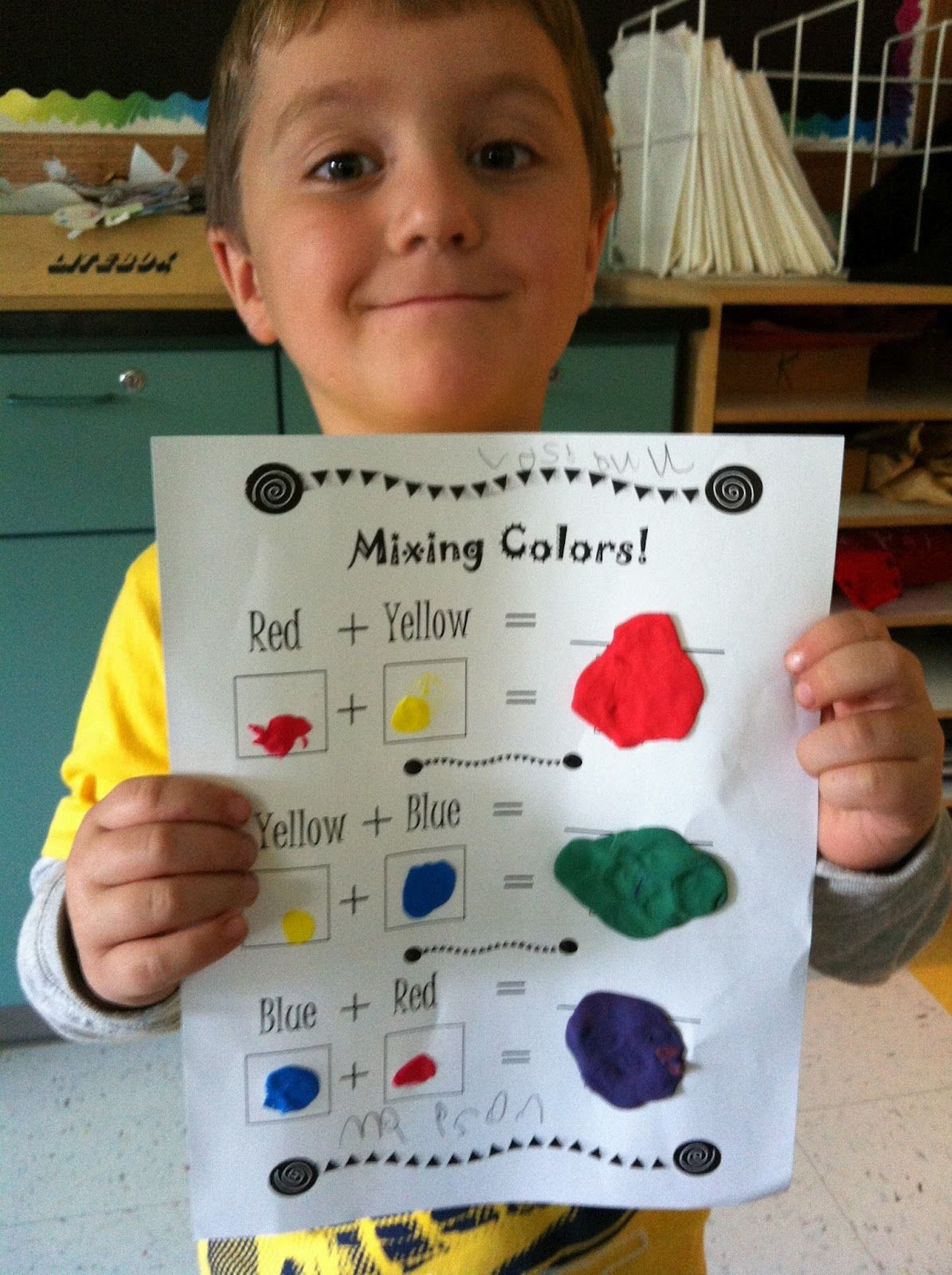 Blank Worksheet To Write And Paint The Way To Make Secondary Colors