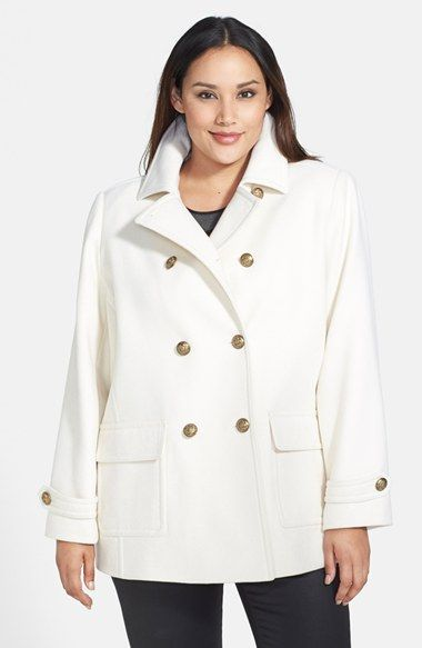 c73ed5df75368 Kristen Blake Pleat Back Peacoat (Plus Size)