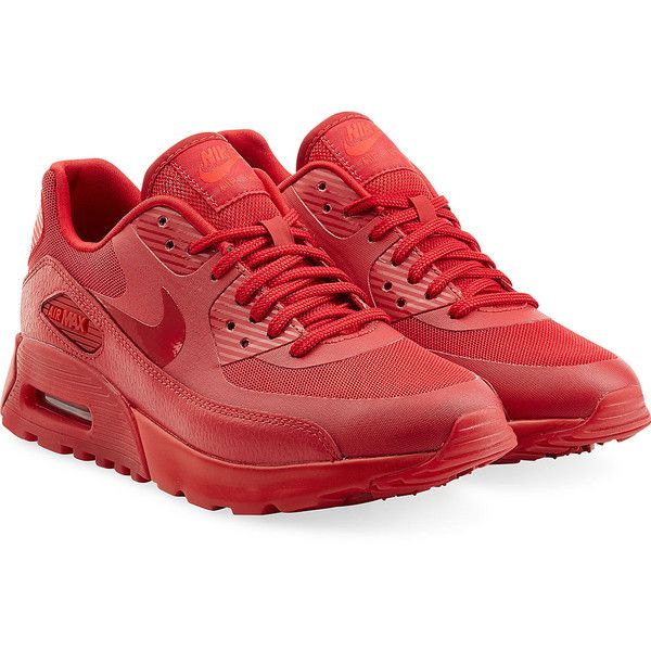 Nike Leather Mesh Air Max 90 Sneakers ( 125) ❤ liked on Polyvore featuring. Couro  VermelhoSapatilhas ... 1c38da0ceb5ba