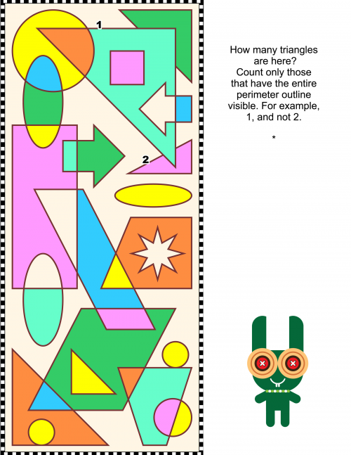 Count the Triangles | kids color | Brain games, Coloring for