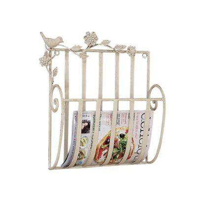 Amazon.com: Metal Bird Wall Mount Shabby Chic Magazine Rack Holder ...