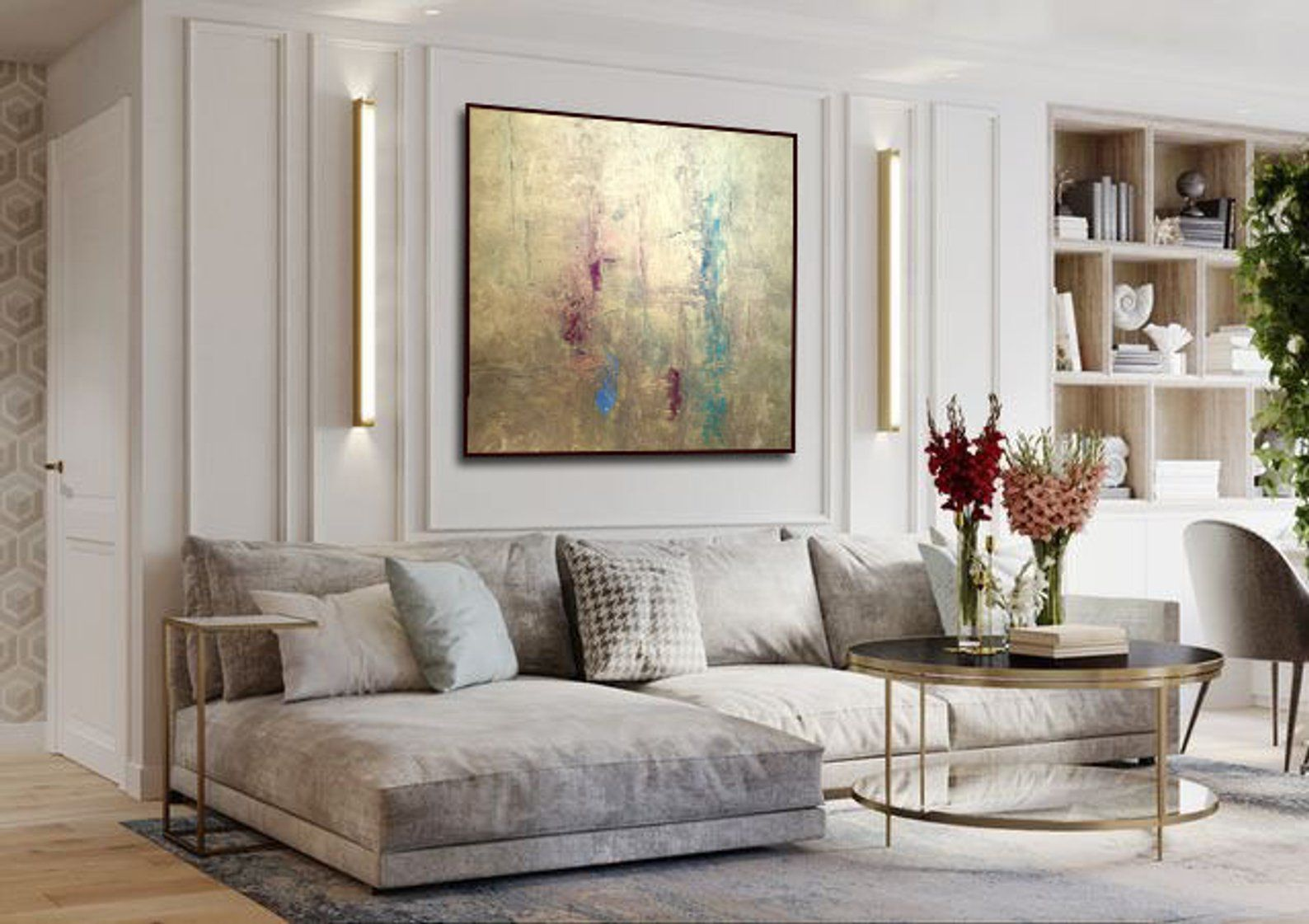 Abstract Gold Art Painting On Canvas Contemporary Art Large