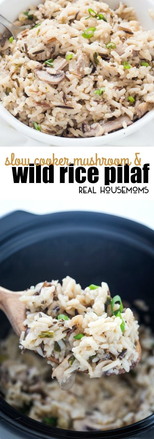 I cannot get over how easy this Slow Cooker Mushroom & Wild Rice Pilaf is! It's perfect for potlucks and holiday gatherings! via @realhousemoms #easyricepilaf I cannot get over how easy this Slow Cooker Mushroom & Wild Rice Pilaf is! It's perfect for potlucks and holiday gatherings! via @realhousemoms #easyricepilaf