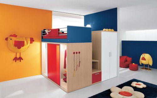 bunte Kinderzimmermöbel hochbetten hähnchen   Platzsparende Möbel ...
