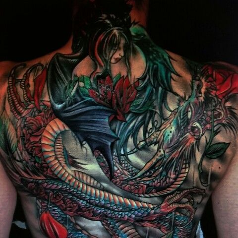 #dragon color back piece tattoo Never Lost Tattoo sacramento ca, Tattoos by Steve'O 916-640-4084 www.somethingwickedtattoo.com Friend and like us on Facebook Tattoos by Steve'O Never Lost Tattoo sacramento california www.somethingwickedtattoo.com Text for appointments 916-640-4084 #art #drawing #sketches #time flys #inked #ink #inkedup #tattoofuze #tattooedgirls #tattooartist #tattooflash #tattooed #tattoos sacramento #tat #tattooing #tatted #tattoo's #tattoo artist #tattoo shop. #tattoo…