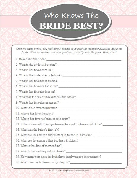 photo about Free Printable Bridal Shower Games How Well Do You Know the Bride known as Absolutely free Who Is aware of The Bride Most straightforward Match Bachlorette Bridal
