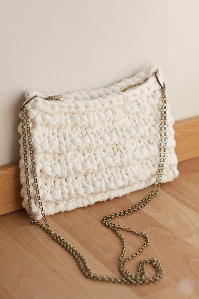 Bolso de trapillo bolsos dos agujas pinterest bolsos for Bolso crochet trapillo