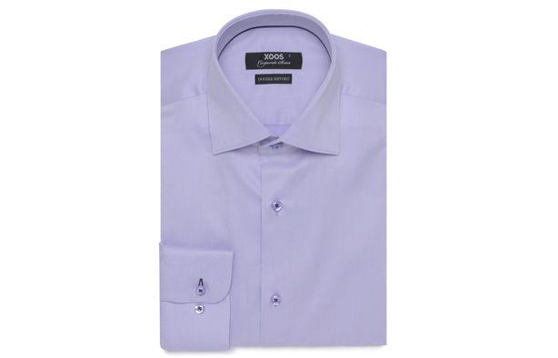 Chemise homme Corporate parme galon mauve (Double Retors), Chemises cintrées - Chemise Homme