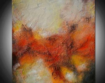 Abstrakte Malerei rot und gelb, Ursprüngliche abstrakte Malerei, Rot Textur Gemälde, gemeißeltes raue Malerei, Abstrakte Kunst, große Gemälde