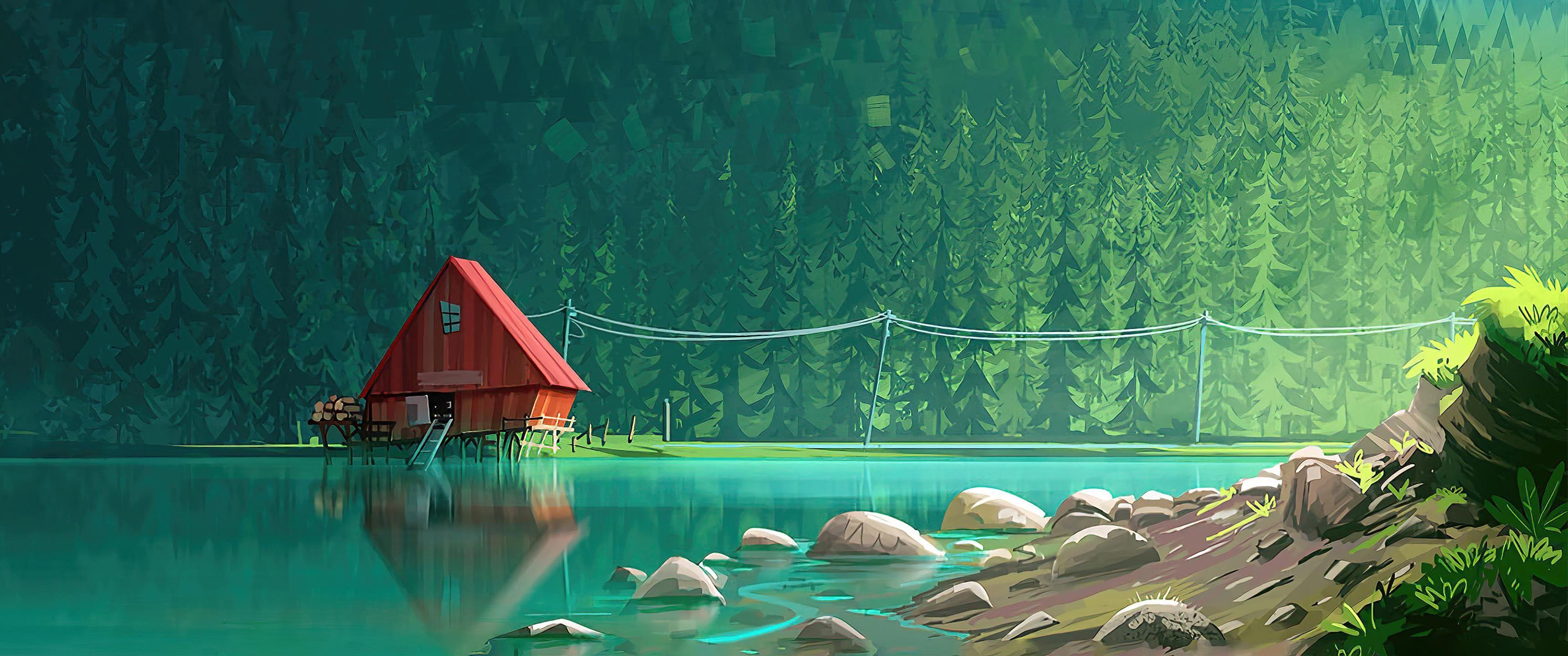 3440 X 1440 Forest Lake Minimalism Ultrawide Crop Forest Lake 3440x1440 Wallpaper Loki Wallpaper