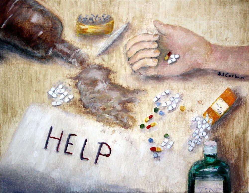 Acrylic Painting Addiction Series Alcohol Drug Substance Abuse Art